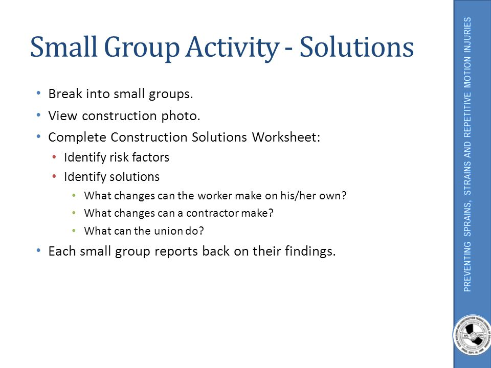 Small Group Activity - Solutions
