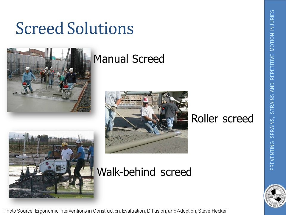 Screed Solutions Manual Screed Roller screed Walk-behind screed