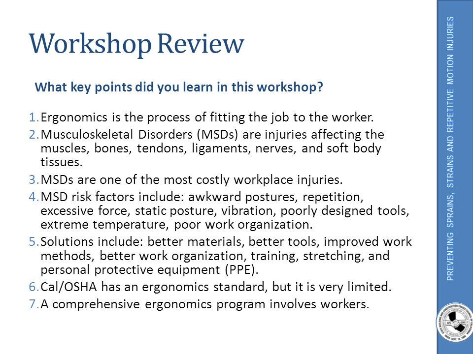 Workshop Review What key points did you learn in this workshop