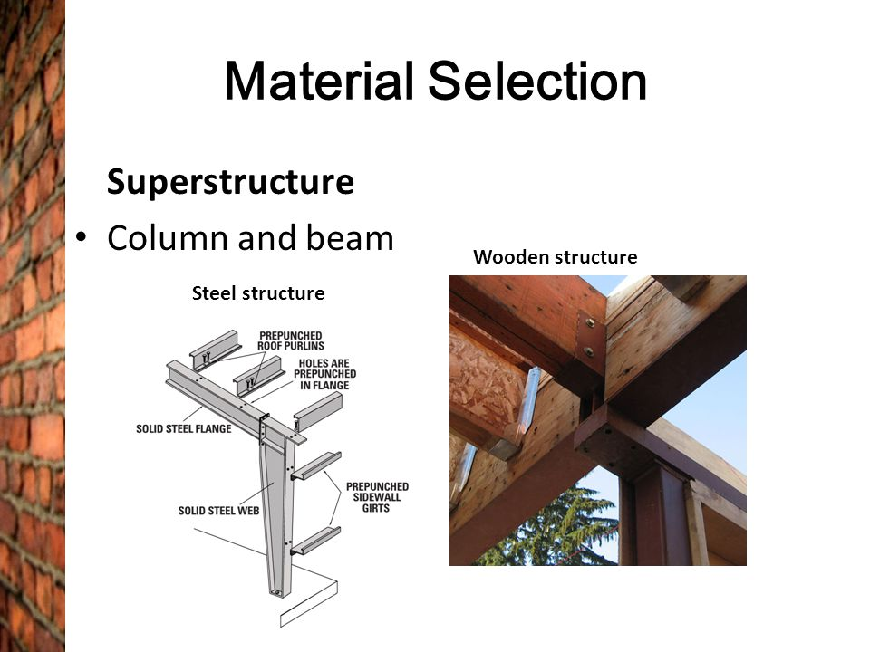 Material Selection Superstructure Column and beam Wooden structure