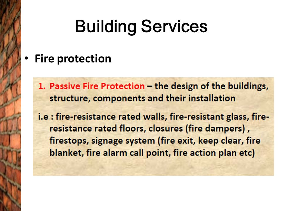 Building Services Fire protection