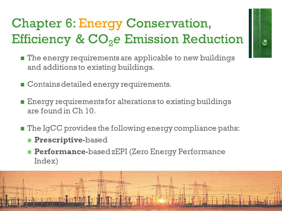 Chapter 6: Energy Conservation, Efficiency & CO2e Emission Reduction