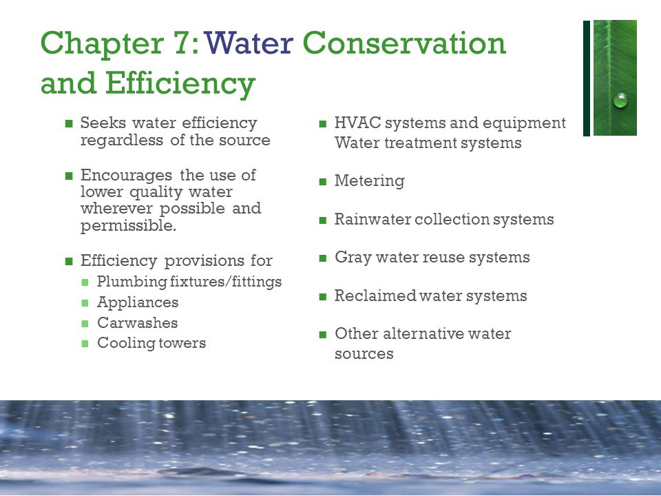 Chapter 7: Water Conservation and Efficiency