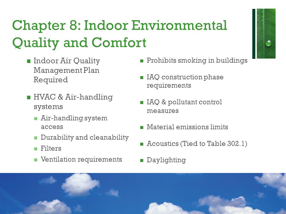 Chapter 8: Indoor Environmental Quality and Comfort