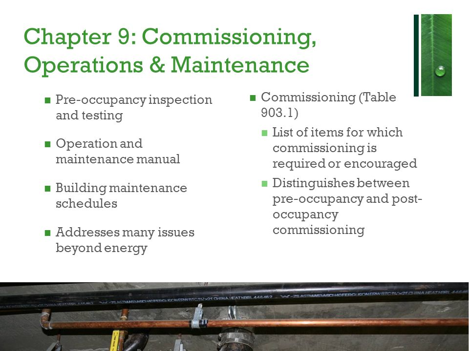 Chapter 9: Commissioning, Operations & Maintenance