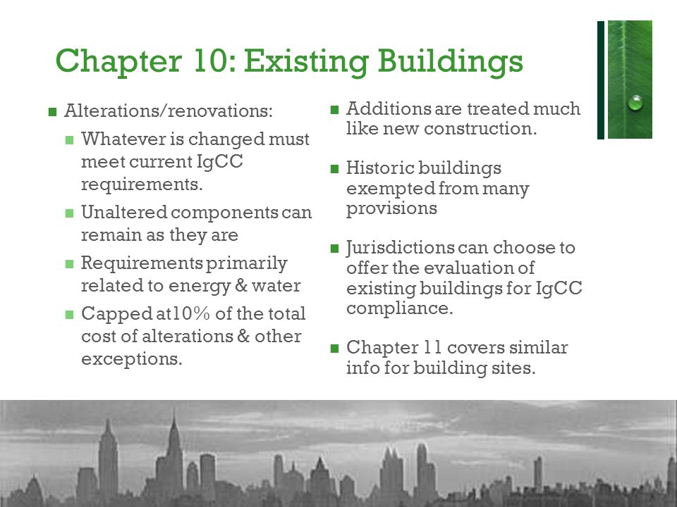 Chapter 10: Existing Buildings