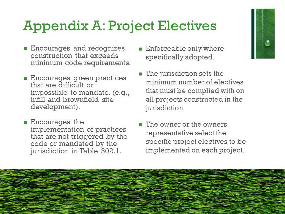 Appendix A: Project Electives