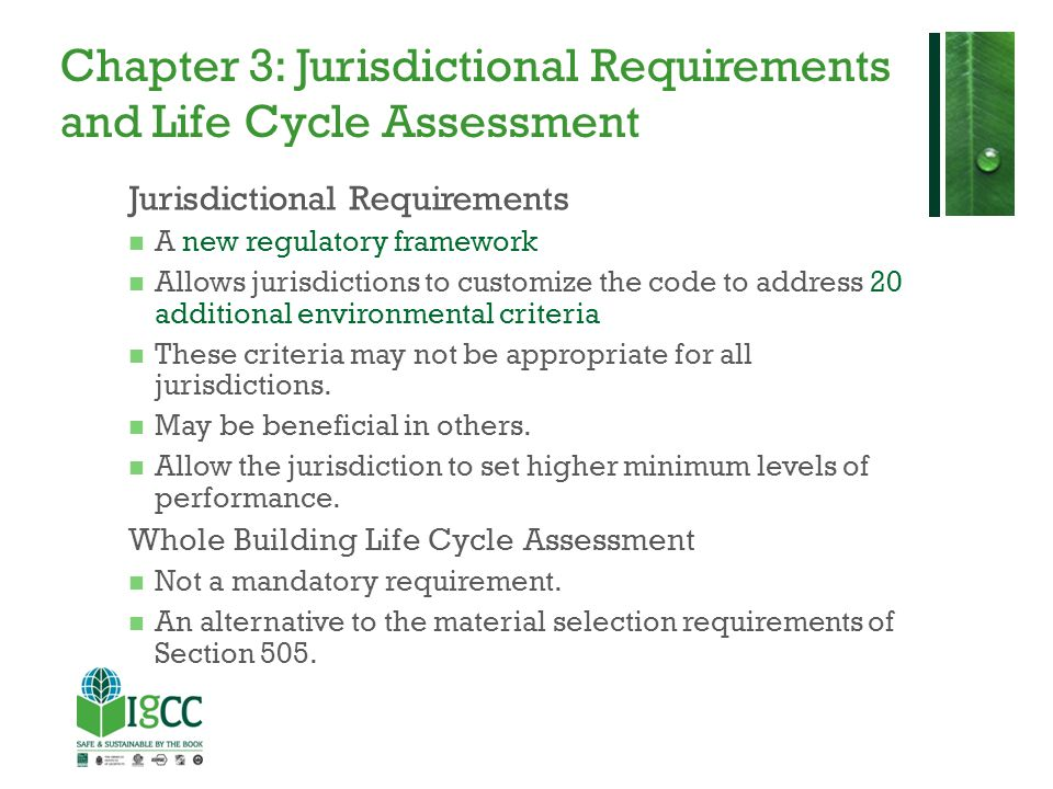 Chapter 3: Jurisdictional Requirements and Life Cycle Assessment