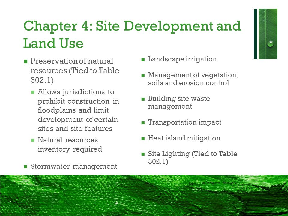 Chapter 4: Site Development and Land Use