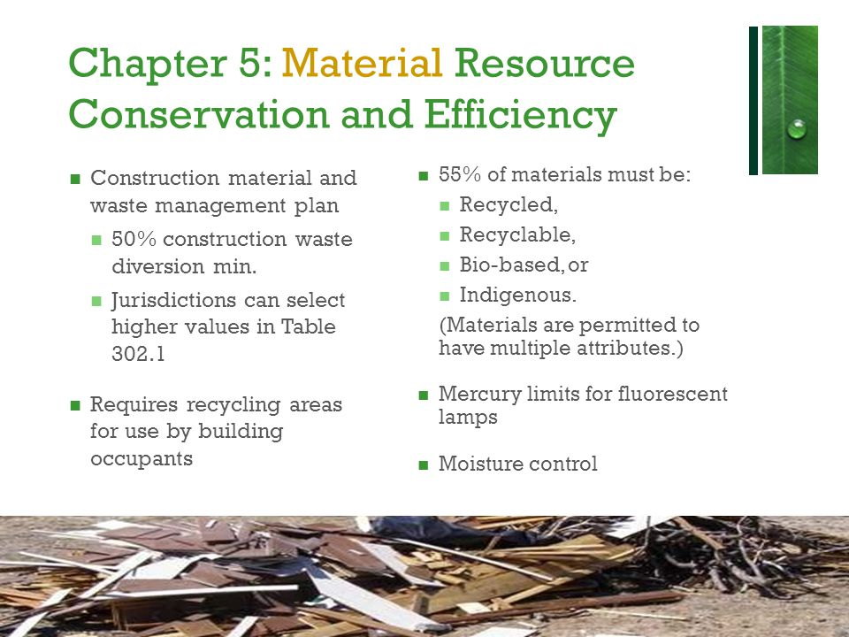 Chapter 5: Material Resource Conservation and Efficiency
