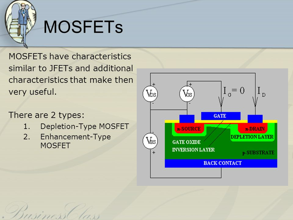 MOSFETs MOSFETs have characteristics similar to JFETs and additional