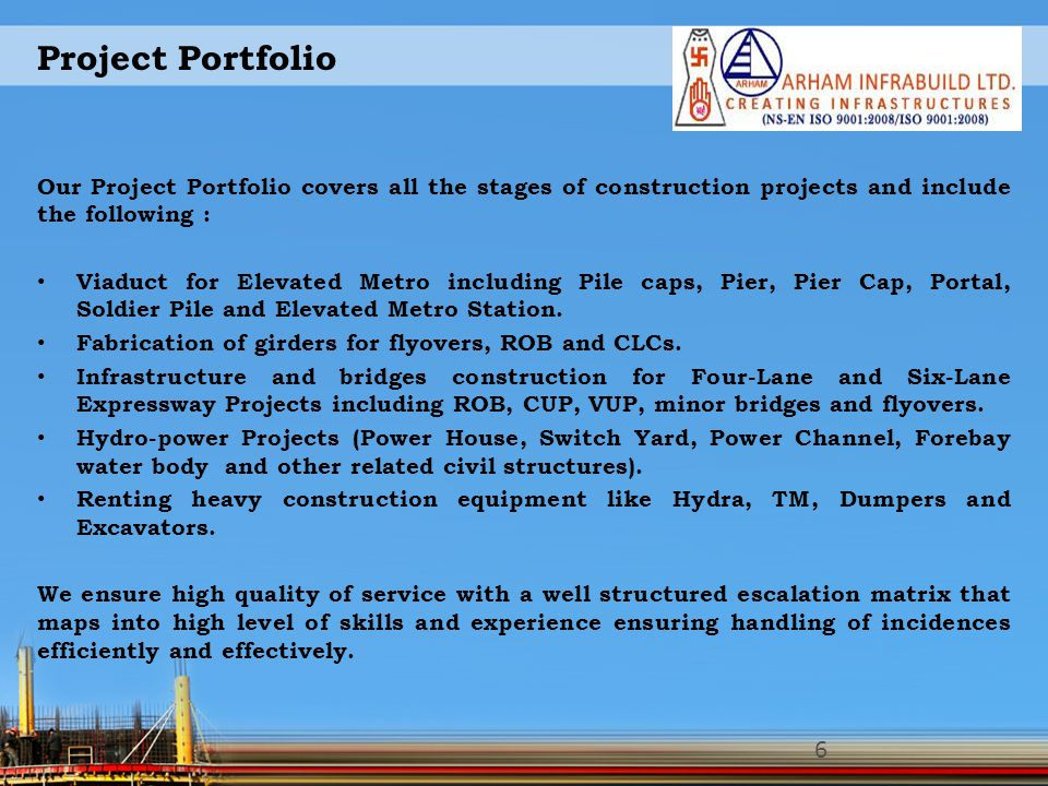 Project Portfolio Our Project Portfolio covers all the stages of construction projects and include the following :