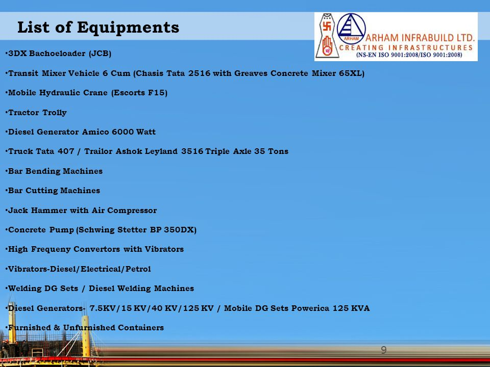 List of Equipments 3DX Bachoeloader (JCB)