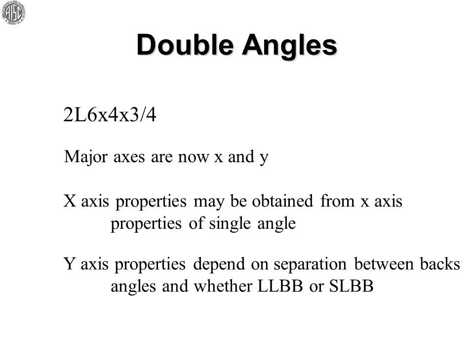 Double Angles 2L6x4x3/4 Major axes are now x and y