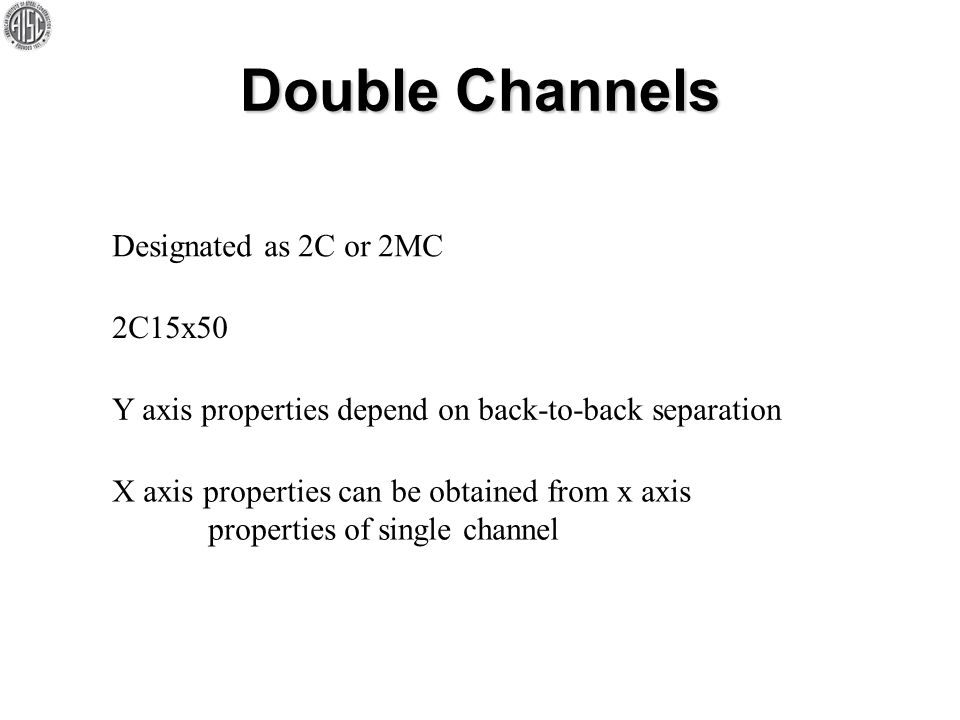 Double Channels Designated as 2C or 2MC 2C15x50