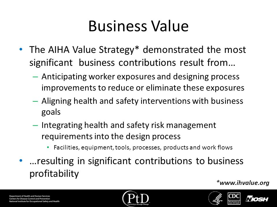 Business Value The AIHA Value Strategy* demonstrated the most significant business contributions result from…