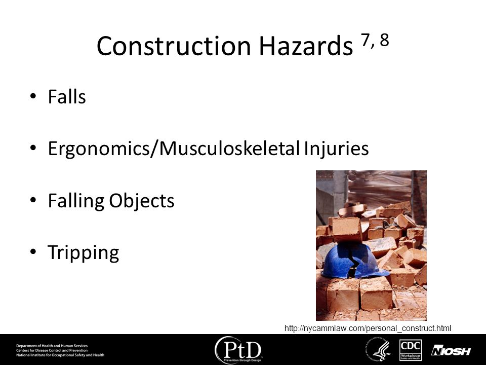 Construction Hazards 7, 8 Falls Ergonomics/Musculoskeletal Injuries