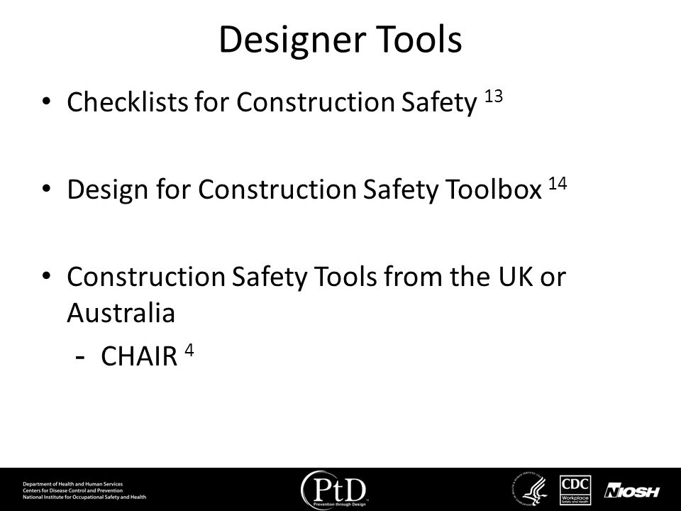 Designer Tools Checklists for Construction Safety 13