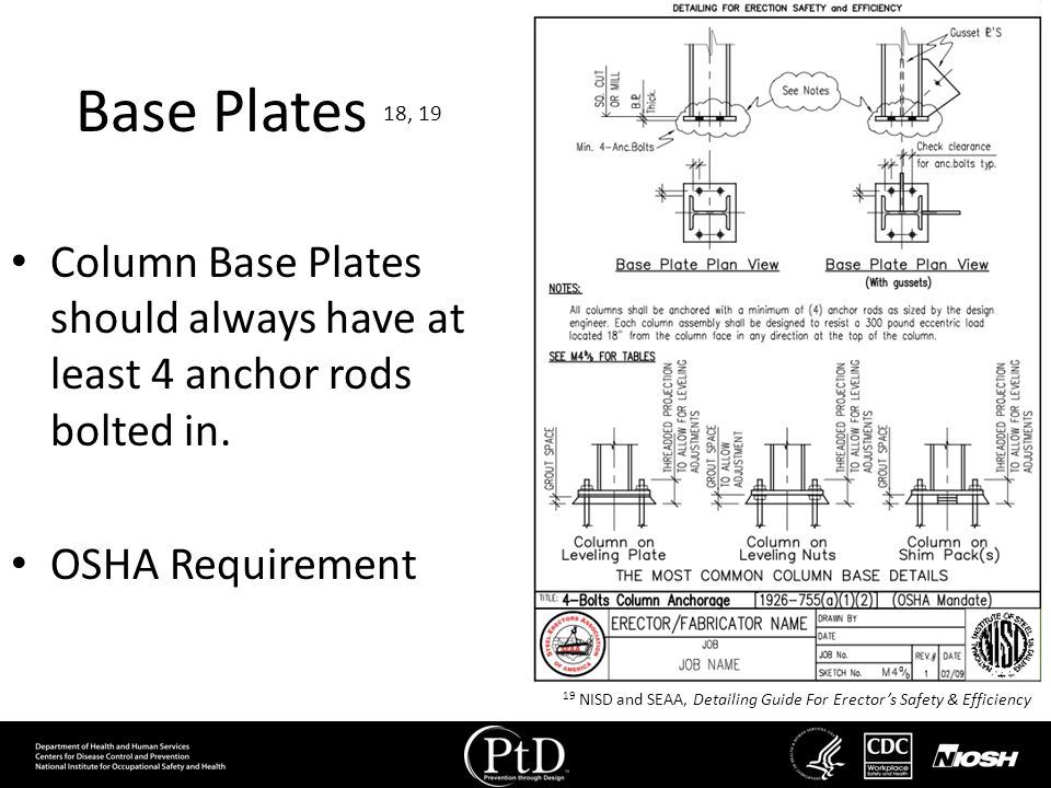 Base Plates 18, 19 Column Base Plates should always have at least 4 anchor rods bolted in. OSHA Requirement.