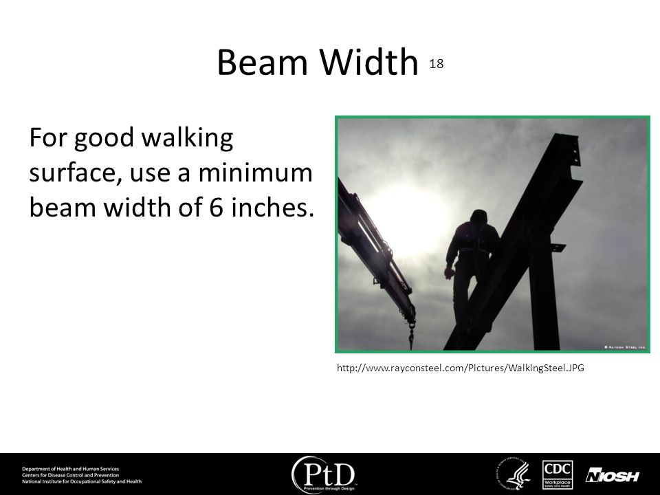 Beam Width 18 For good walking surface, use a minimum beam width of 6 inches.