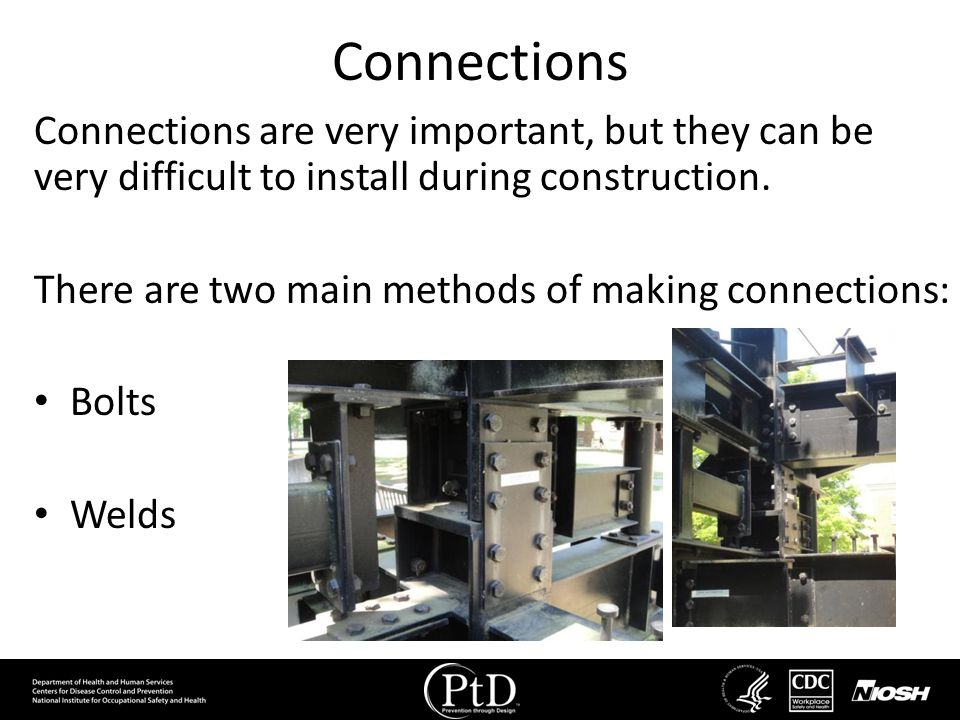 Connections Connections are very important, but they can be very difficult to install during construction.