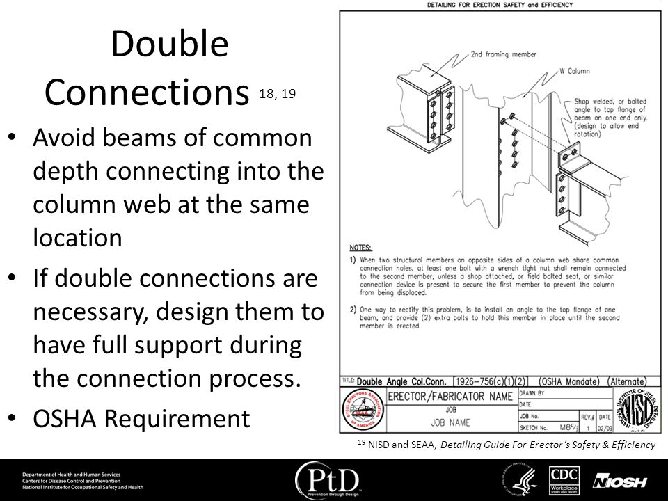 Double Connections 18, 19 Avoid beams of common depth connecting into the column web at the same location.