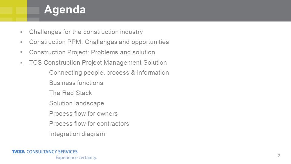 Agenda Challenges for the construction industry