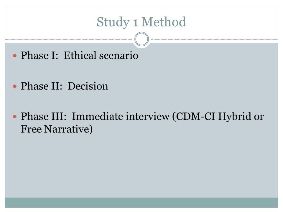 Study 1 Method Phase I: Ethical scenario Phase II: Decision
