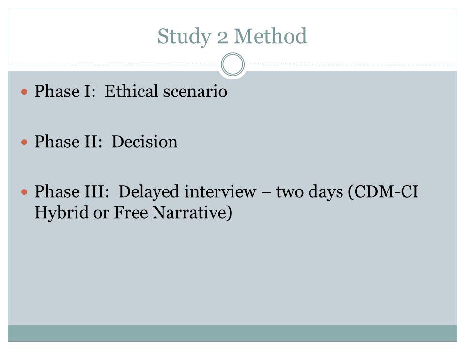 Study 2 Method Phase I: Ethical scenario Phase II: Decision