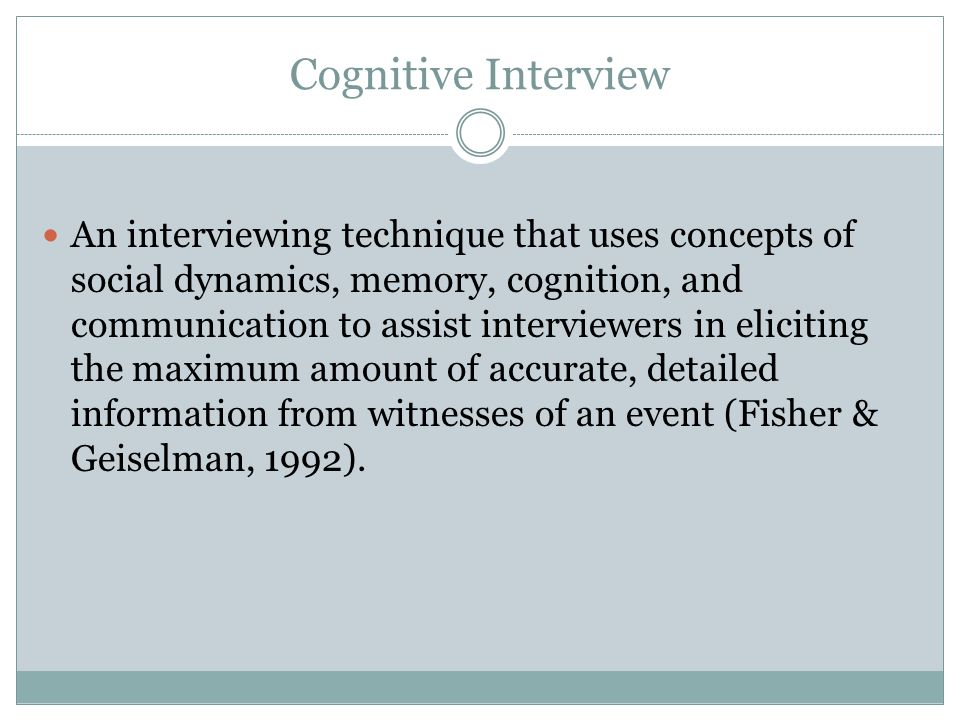Cognitive Interview