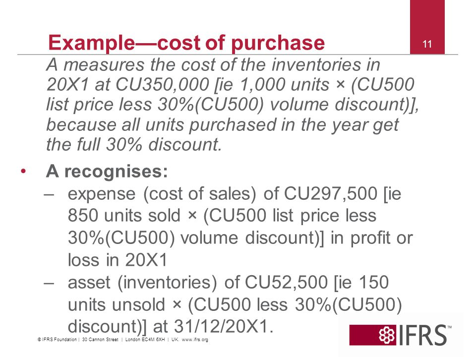 Example—cost of purchase