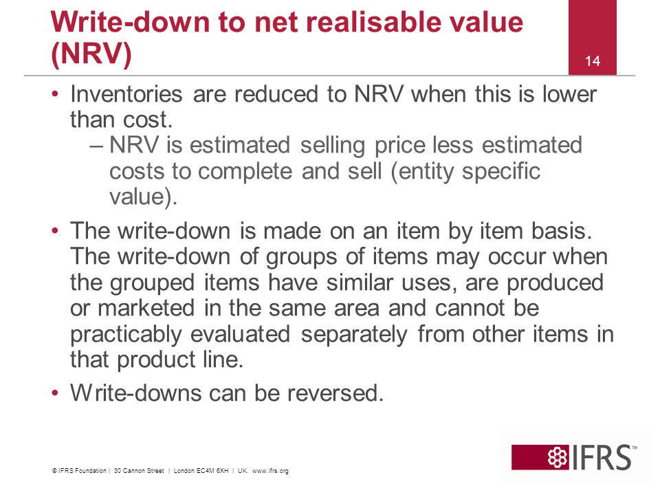 Write-down to net realisable value (NRV)