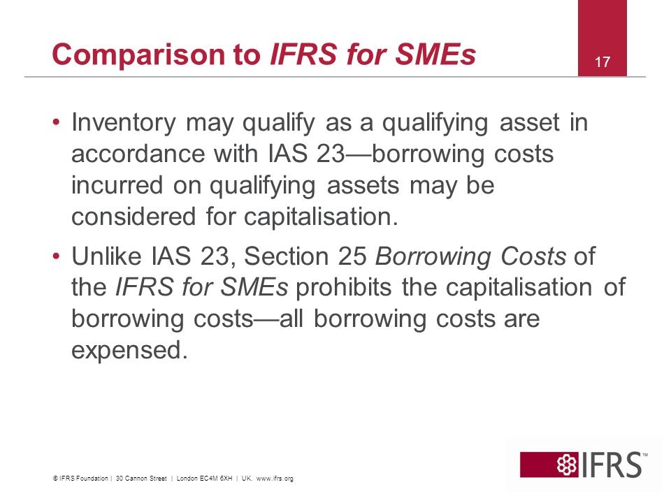 Comparison to IFRS for SMEs