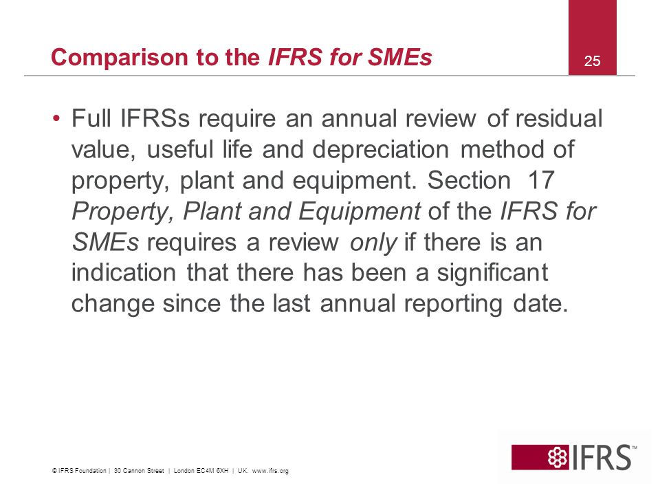 Comparison to the IFRS for SMEs