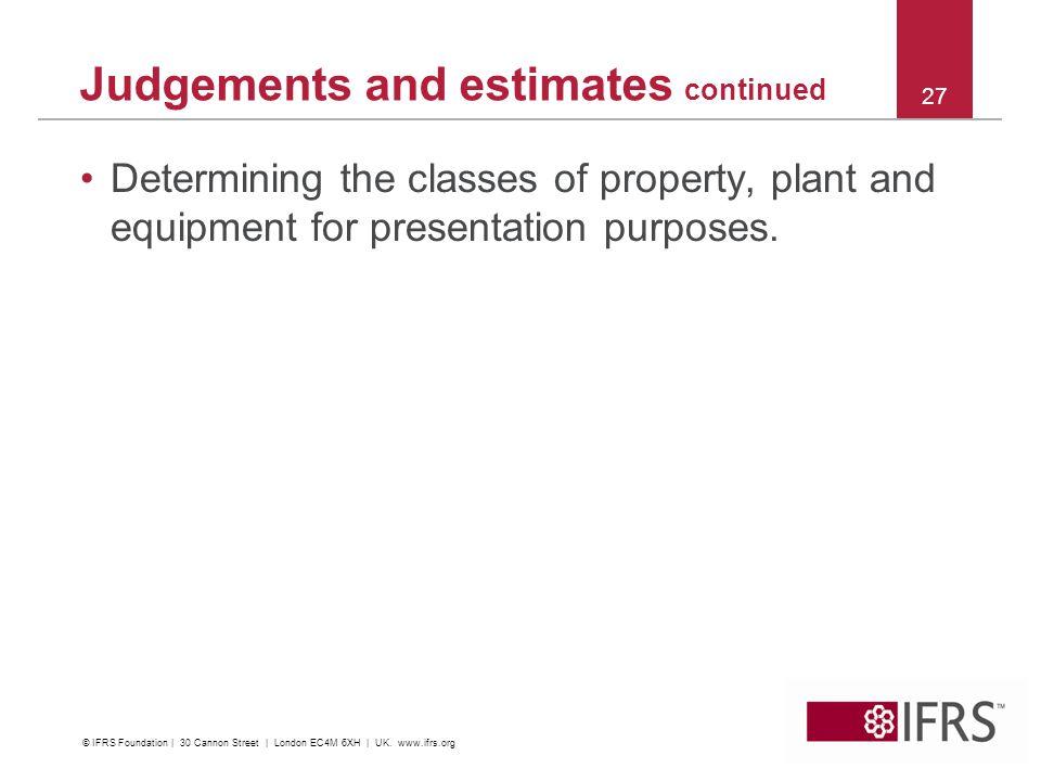Judgements and estimates continued
