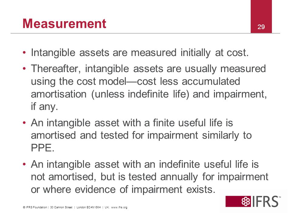 Measurement Intangible assets are measured initially at cost.