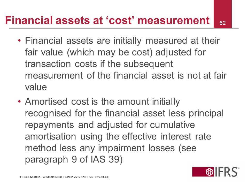 Financial assets at 'cost' measurement