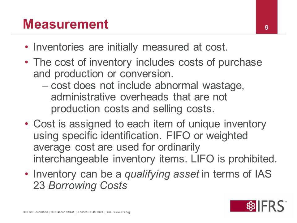 Measurement Inventories are initially measured at cost.