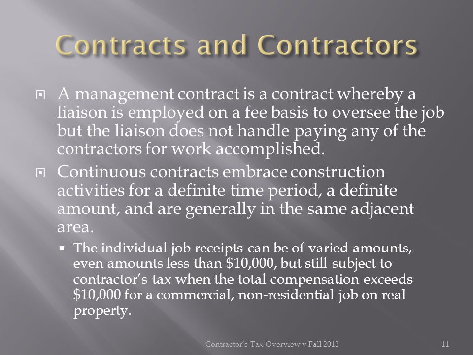 Contracts and Contractors