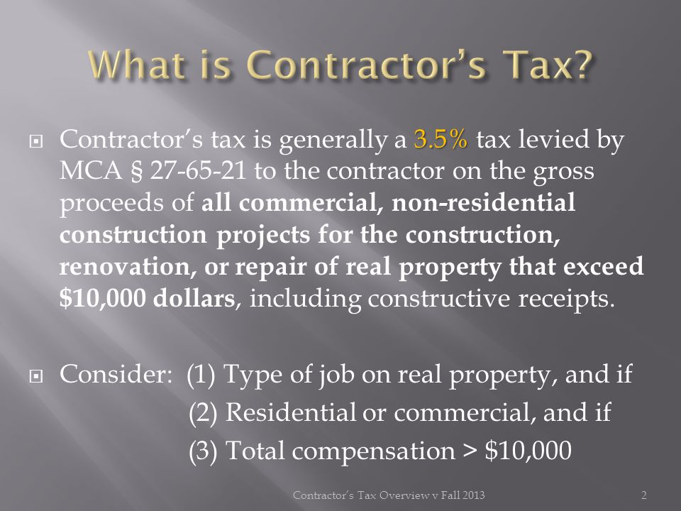 What is Contractor's Tax