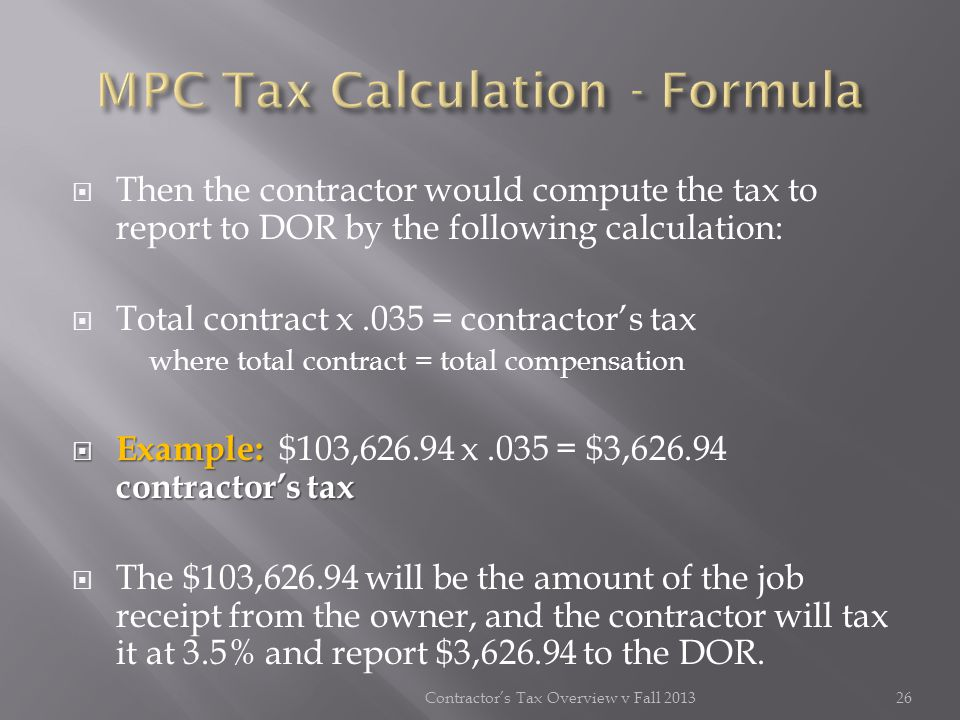 MPC Tax Calculation - Formula