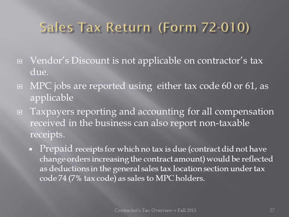 Sales Tax Return (Form 72-010)