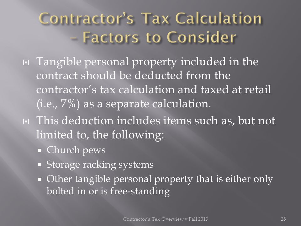 Contractor's Tax Calculation – Factors to Consider