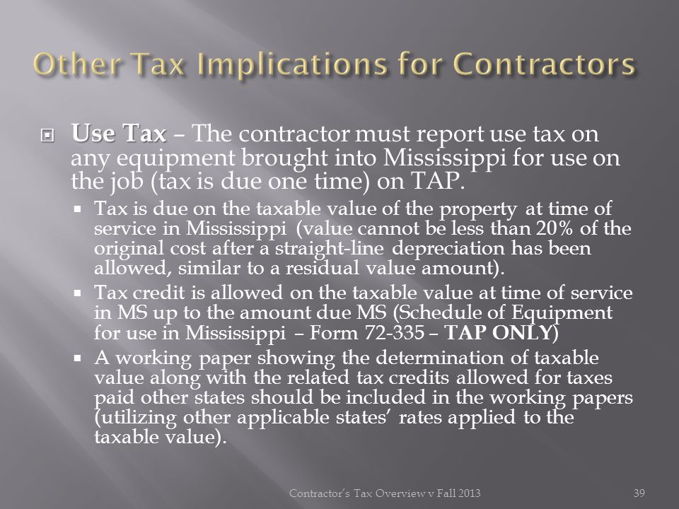 Other Tax Implications for Contractors