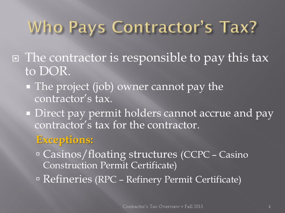 Who Pays Contractor's Tax