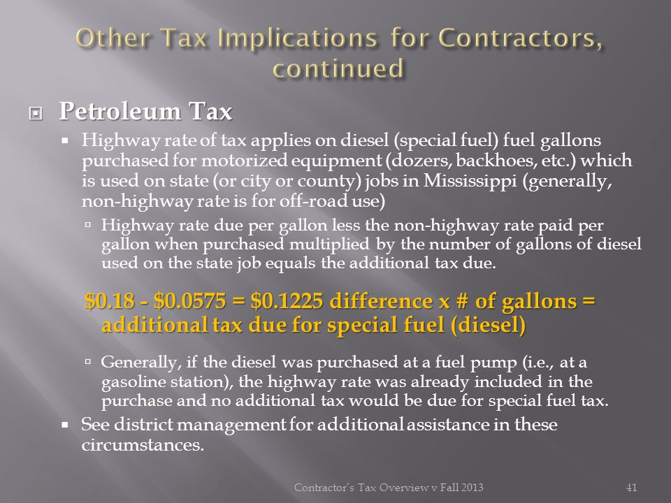 Other Tax Implications for Contractors, continued