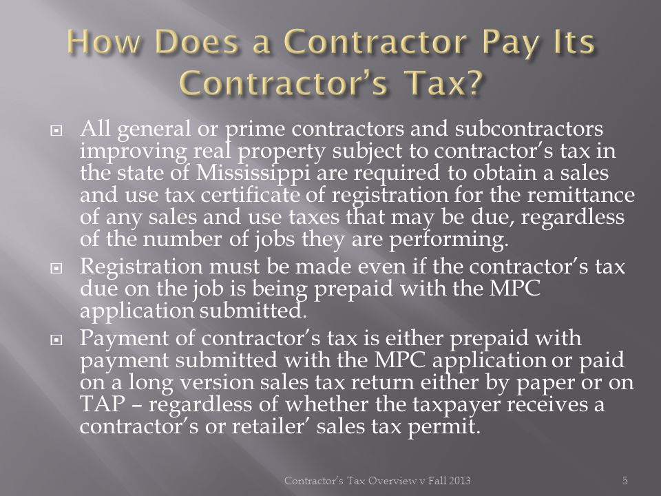 How Does a Contractor Pay Its Contractor's Tax