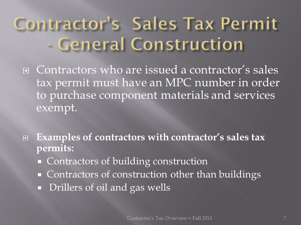 Contractor's Sales Tax Permit - General Construction