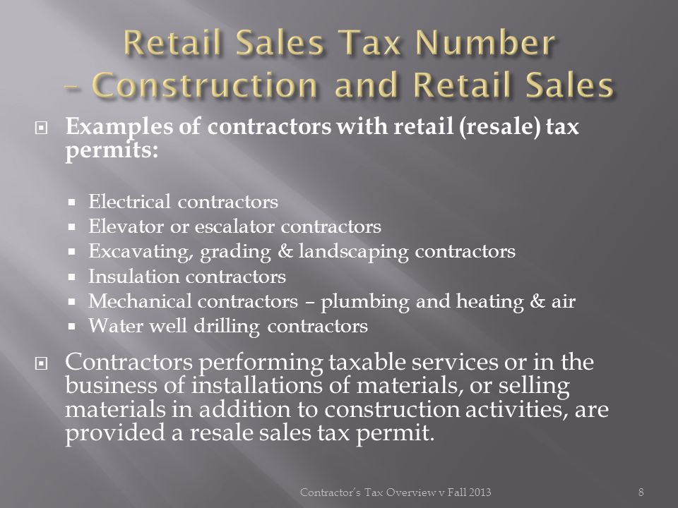 Retail Sales Tax Number – Construction and Retail Sales