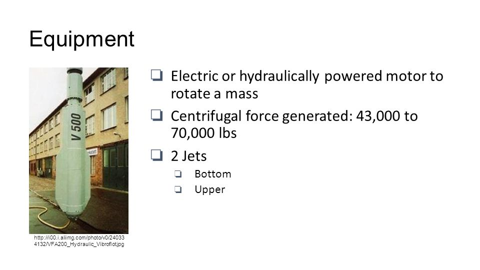 Equipment Electric or hydraulically powered motor to rotate a mass